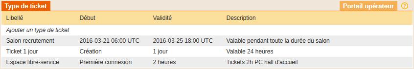 Tickets et types de tickets Olfeo